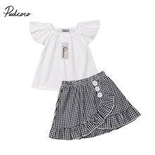 Moda bebé niña ropa de verano conjunto mosca manga camiseta Plaid Falda  corta ropa para niños Bebé Ropa de chico de niño f2bf0b2e4e8c