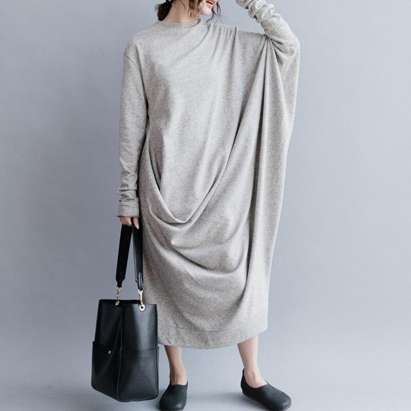 DEAT 2019 nouveau printemps mode femmes vêtements col rond manches chauve-souris asymétrique lâche longue robe femme taille libre WD79902