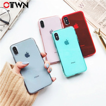 Ottwn Clear Phone Cases For iPhone X 6 6S 7 8 Plus Soft TPU Silicone BackCover Cute Candy Color Transparent