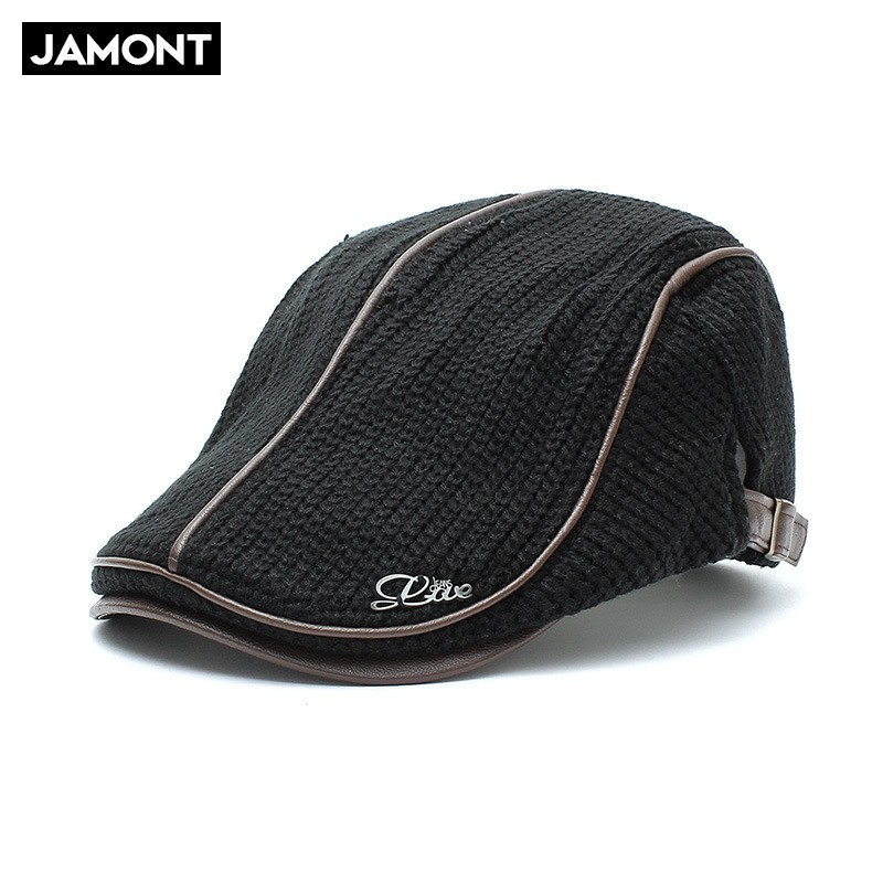 Jamont Hat Beret-Cap Newsboy-Hats Knitted-Wool Warm Winter Male Mens for Boina Elderly