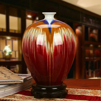 Ceramics Quality Color Glaze Pentastar Gem Blue Glaze Large Vase Chinese Style Classical Decoration