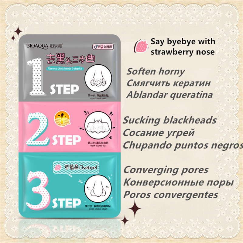 Remover Blackhead Pig Nose Mask Remove Blackhead Acne Remover Clear Black Head 3 Step Kit Beauty Clean Face Care Cosmetic 21ml
