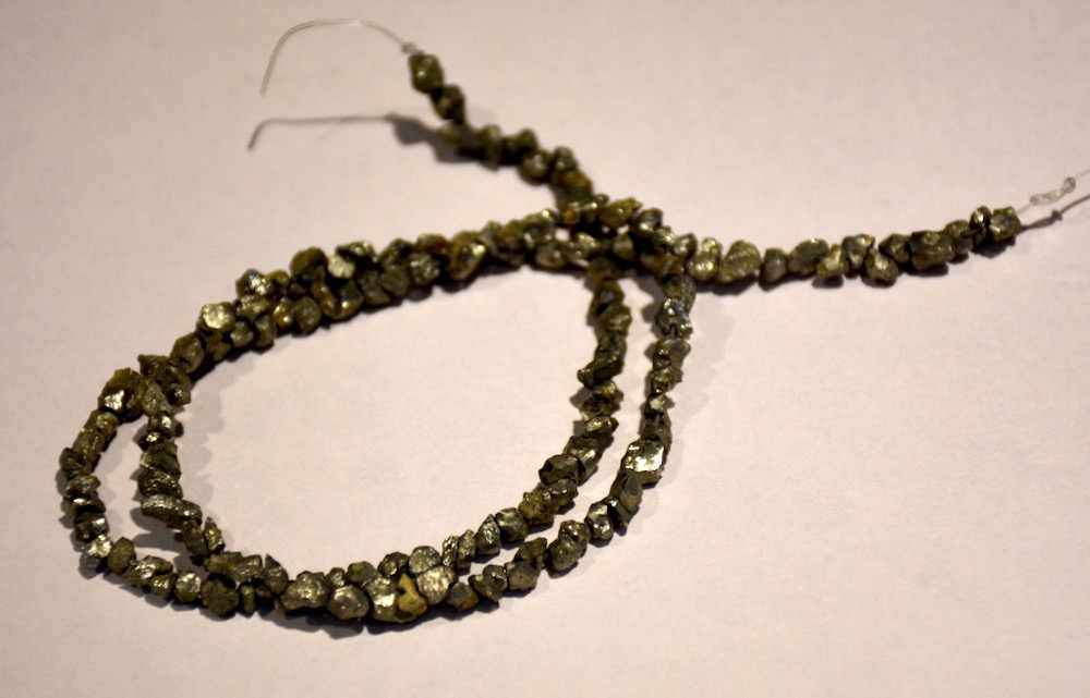 Diy Loose beads 3-4mm pyrite stone Beads Approx 100pcs