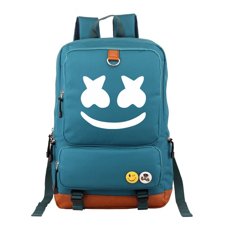 Unisex Schoolbag Marshmallow Cosplay Backpack DJ Marshmello Oxford Cloth Bag Daily Ruckpack Student Satchel Anime Halloween Cos