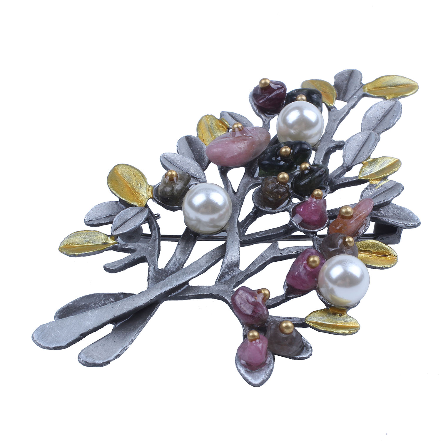 Vintage Natural Stone Brooch Pendant Retro Tree Shaped Women Imitation Pearl Brooch Jewelry