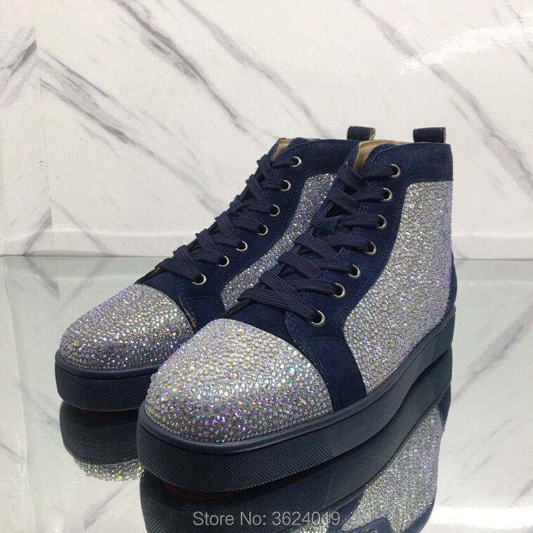 fd0c5ac2591f High Top cl andgz Blue Rhinestone Star diamond Lace up Red bottoms For man casual  Shoes