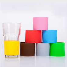 4pcs Solid Color Silicone Heat-resistant Cup Sleeve Protective Non-slip Water Glass Cover