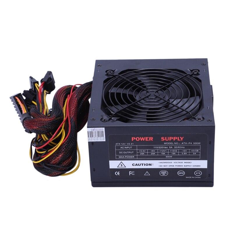 170-260 V Max 500 W alimentation Psu Pfc ventilateur silencieux 24Pin 12 V Pc ordinateur Sata Gaming Pc alimentation pour Intel pour ordinateur Amd