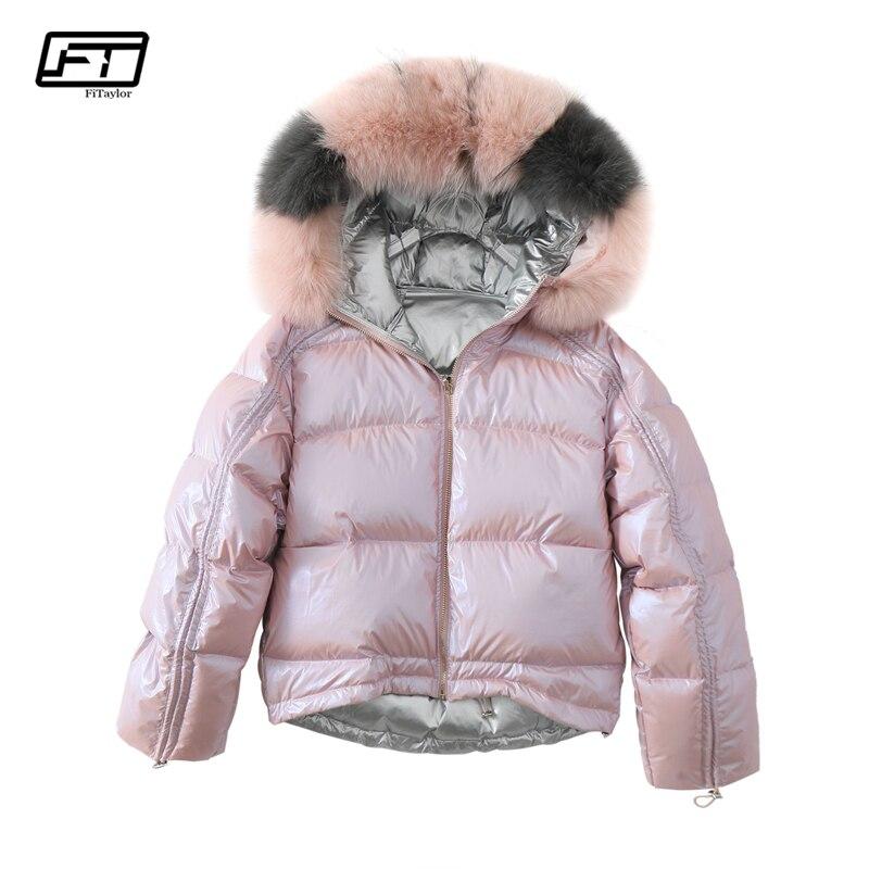 Fitaylor chaqueta de invierno de las mujeres Collar piel Real de plata de oro pato abajo abrigo de doble cara con capucha Parkas cremallera impermeable prendas de vestir exteriores
