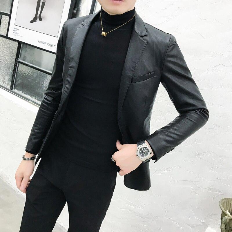 Automne hiver russe Faux cuir Slim Fit costume vêtements mode homme veste noire Bomber col rabattu manteau Jaket M-2XL