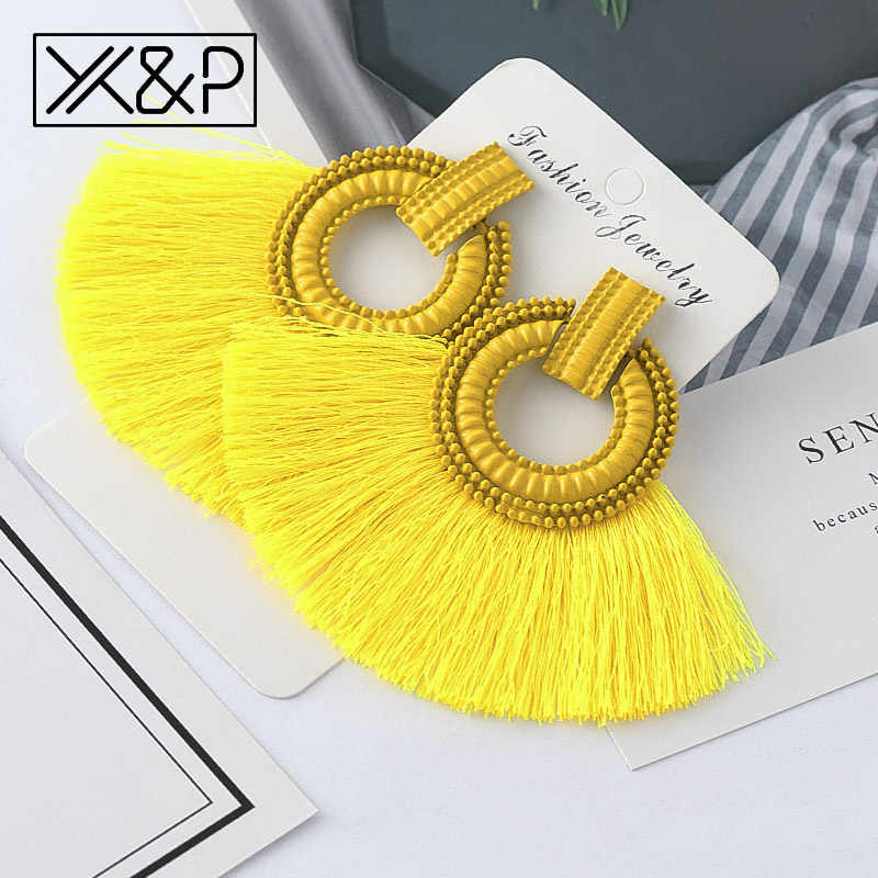 X&P Beautiful Bohemian Big Tassel Drop Earrings for Women Fringe Handmade Brincos Statement Fashion Women Earring 2019 Jewelry