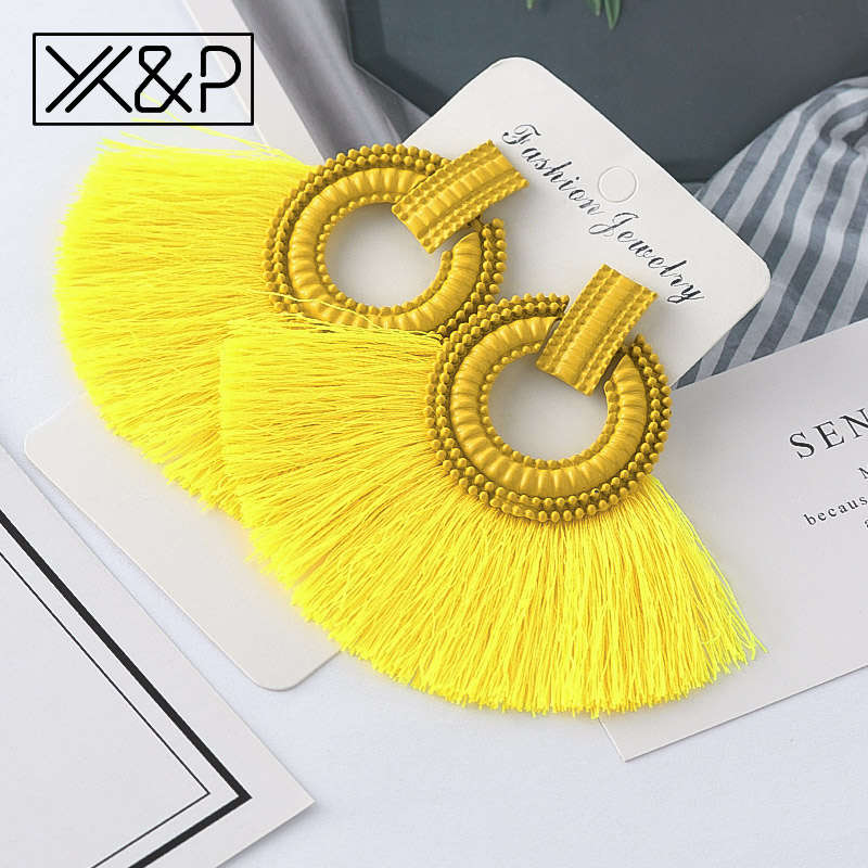 X&P Beautiful Bohemian Big Tassel Drop Earrings for Women Fringe Handmade Brincos Statement Fashion Women Earring 2019 Jewelry