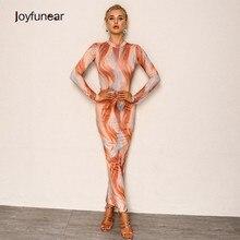 Joyfunear Pull Over Elastica Aderente Vestiti Sexy Delle Donne Stampato O  Collo Paisley Chic Vestito Da Partito Lungo Elegante . 580fbada864