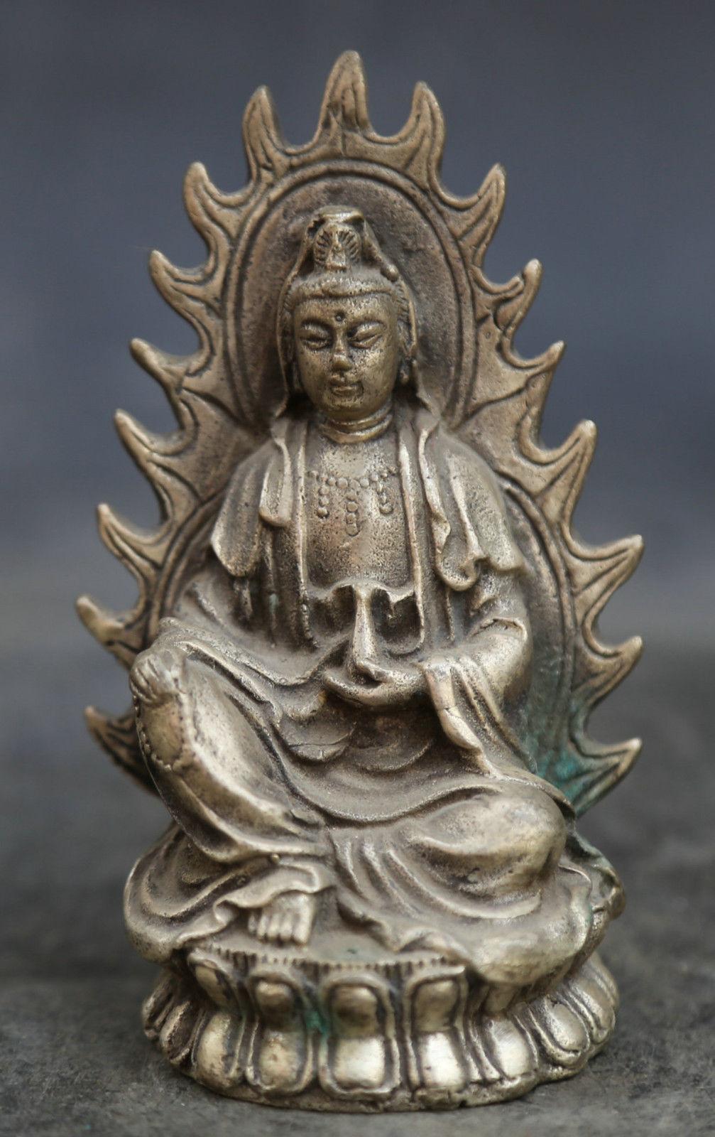 3.9 Cinese Buddismo Fengshui Bronzo Kwan-yin di Guan Yin Sit Fiore di Loto Statua3.9 Cinese Buddismo Fengshui Bronzo Kwan-yin di Guan Yin Sit Fiore di Loto Statua