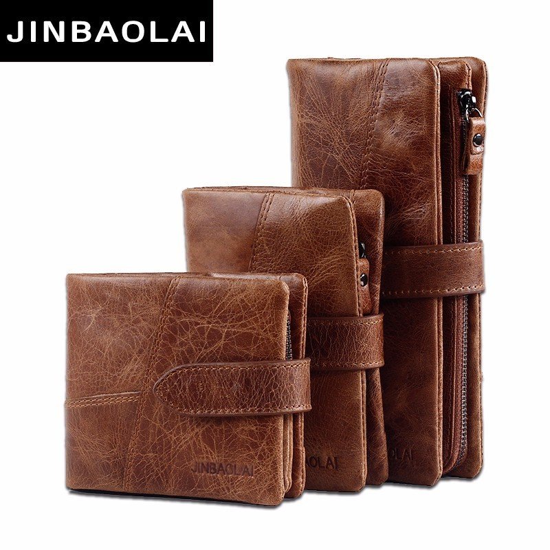 JINBAOLAI Genuine Crazy Horse Cowhide Leather Men Wallets Fashion Purse With Card Holder Vintage Long Wallet Clutch Wrist Bags