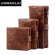JINBAOLAI Genuine Crazy Horse Cowhide Leather Men Wallets Fashion Purse With Card Holder Vintage Long Wallet Clutch Wrist Bags