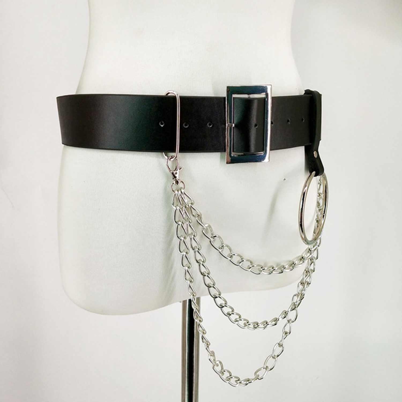 Женский ремень из искусственной кожи, ремни для тела с цепочкой, пояс, подвязки в стиле панк, регулируемые ремни на подтяжках