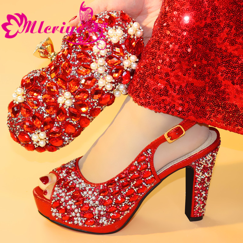Red Color 2873 African Women Matching Italian Shoes and Bag Set for Wedding Italian Shoes with Matching Bag Italy Shoe and BagRed Color 2873 African Women Matching Italian Shoes and Bag Set for Wedding Italian Shoes with Matching Bag Italy Shoe and Bag