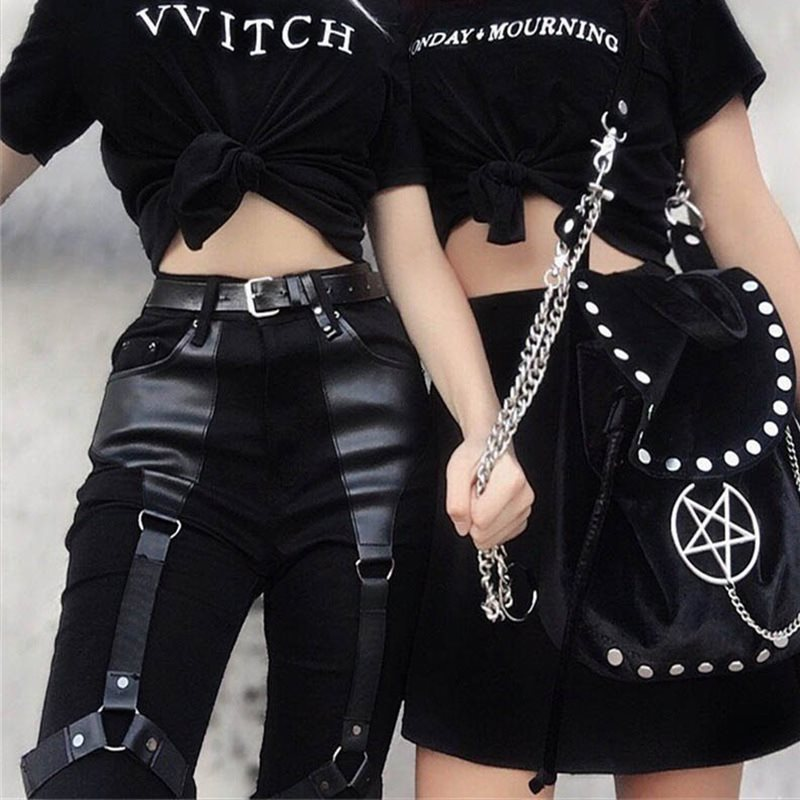 Rosetic Cargo Pants Women Punk Rock PU Leather Patchwork Black Streetwear Kpop Joggers Girl Gothic Spring Casual Skinny Trousers