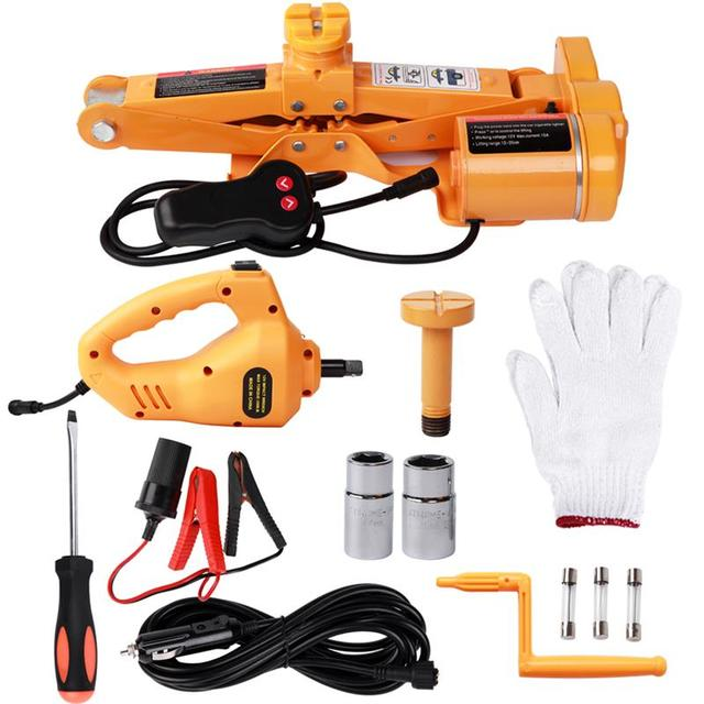 US $119 79 20% OFF|Car Wrench Repair Tire Wheel Chang Kit Car Jacks Lifting  Equipment 12V 100W Fully Automatic Electric Scissor 3Ton Tools-in Car