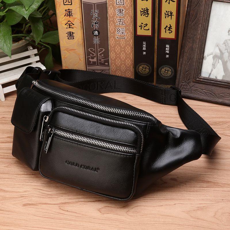 Genuine Leather Men Sling Chest Waist Bum Bags Multi-Purpose Shoulder Messenger Bag Natural Skin Male Hip Fanny Belt Pack