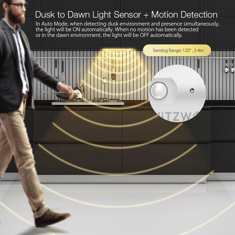BlitzWolf BW-LT8 датчик движения светодиодная подсветка под шкаф съемная литиевая батарея 3000K Цветовая температура ночник теплый белый