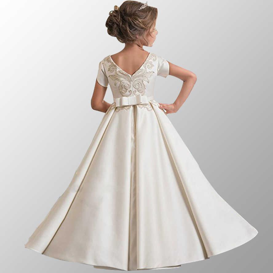 Kids Evening Dress Flower Party Dresses For Girls Wedding Gown Flower Girls  Dress Children Formal Clothes f9893af3ea0d