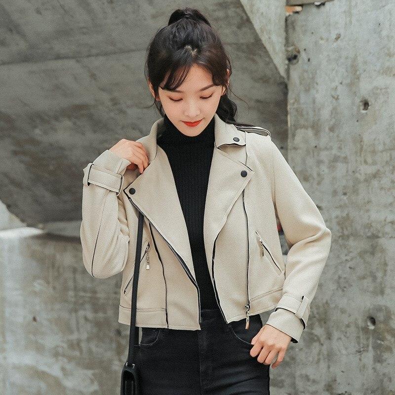 2018 Autumn Turndown Neck PU   Leather   Jacket Faux Soft   Suede   Coat Slim Zipper Short Motorcycle Jackets