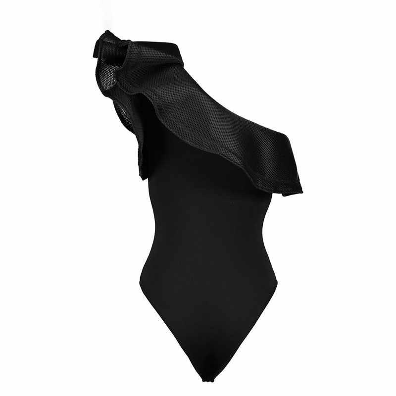 Пляжные Женское боди с вырезом на спине Комбинезоны для малышек Готический сексуальный одно плечо черный топ летние красные элегантные повседневное сетки Рюш