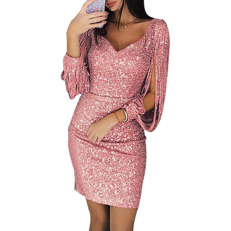Pink Cocktail Dresses Full Sleeve V-Neck Above Knee Mermaid Sequined Dresses Hot Gowns for Club Robe de Cocktail Courte 2019