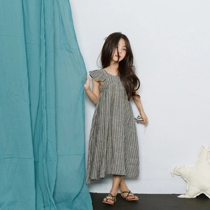 Image 4 - cotton linen ruffles korean kids clothes big children dresses girls new 2019 summer baby girls Teens dress stripe party frocks