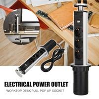 250V 16A 3 Power Socket 2 USB Charging Port Retractable Table Socket for Kitchen Countertops Worktop EU