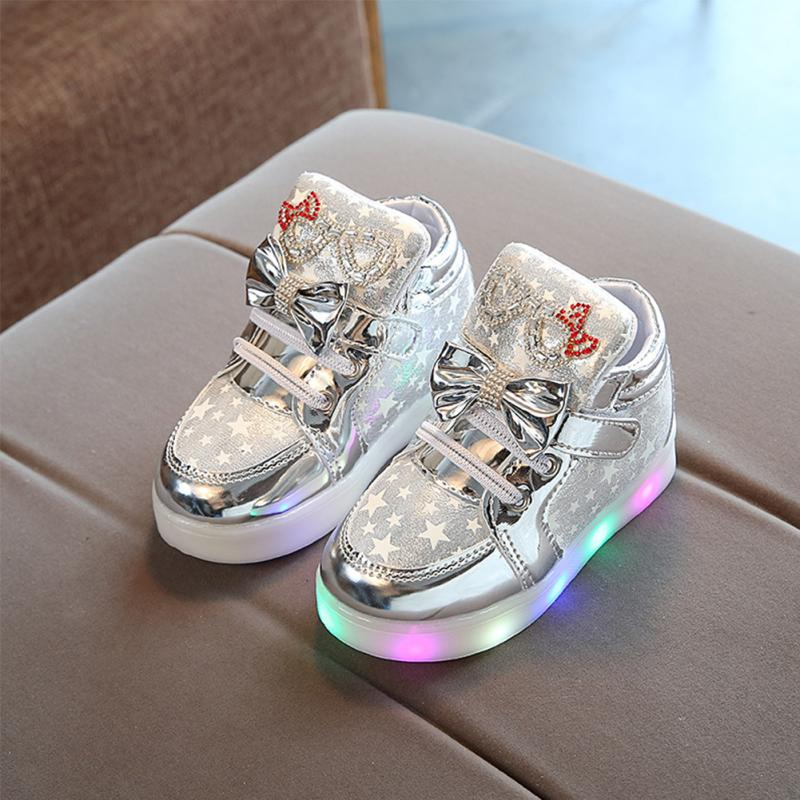 2019 Star Pattern Bowknot Children Luminous Sneakers Anti-slip Footwear Kids LED Flashing Boot for Baby Girls Casual Shoes 21-30