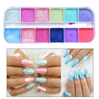 Beauty Girls 12 Colors Nail Art Glitter Set Shimmer Pigment Fine Dipping Powder For Nails Manicure Dust Sequins Decoration