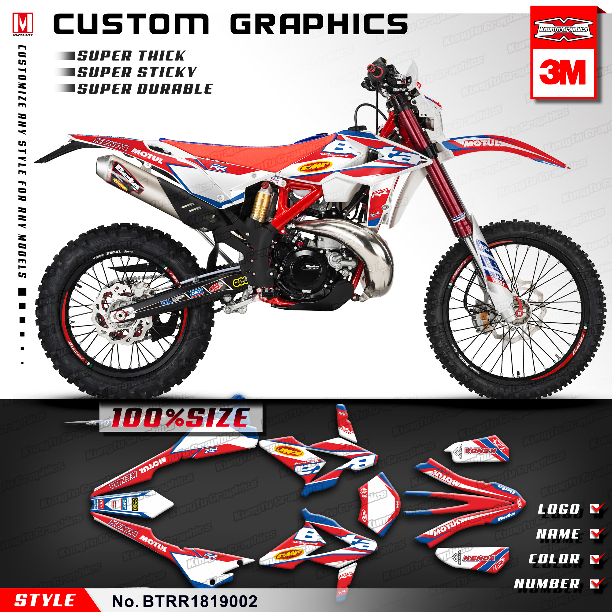 KUNGFU GRAPHICS Motocross Custom Stickers Kit Vinyl Wrap for Beta 250 300 350 390 430 480 RR 2018 2019 (Style no. BTRR1819002)-in Decals & Stickers from Automobiles & Motorcycles    1