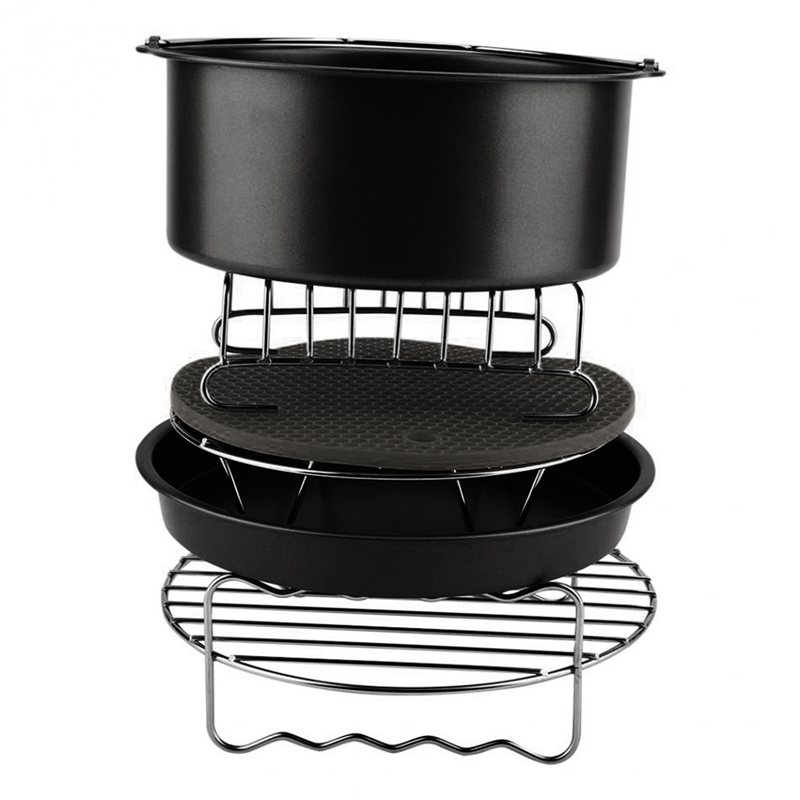 6Pcs Durable Baking Basket Pizza Plate Air Fryer Accessories For Cooking Kitchen-Black6Pcs Durable Baking Basket Pizza Plate Air Fryer Accessories For Cooking Kitchen-Black
