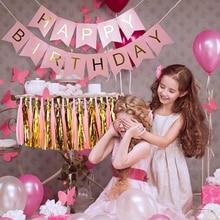1 шт. Детские вечерние игрушки шляпа пастельный розовый баннер с днем рождения подвесная игрушка Золотая буква реквизит для фотосессии гирлянда игрушки для детей