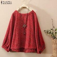 Top Blusas ZANZEA Women Long Sleeve Shirt Blouse Ladies Floral Print Blusas Vintage O Neck Work Shirts Chemise Camisa Plus Size