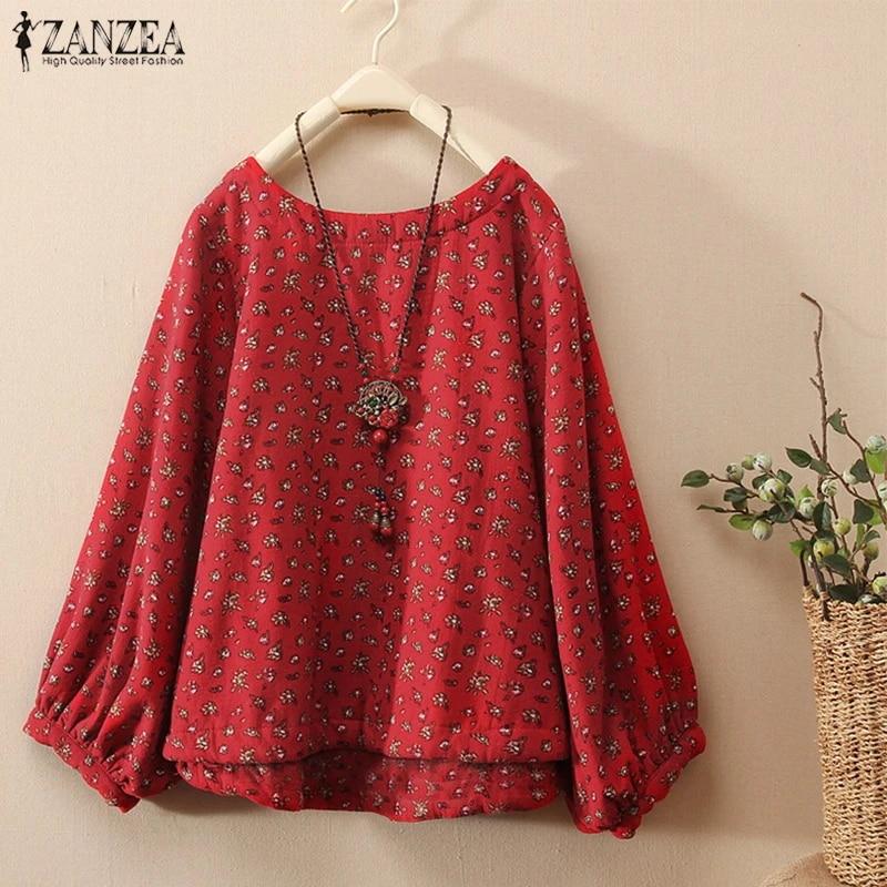 ZANZEA Women Casual Loose Baggy Tunic Top Blouse Tee Shirt Ladies Floral Dress