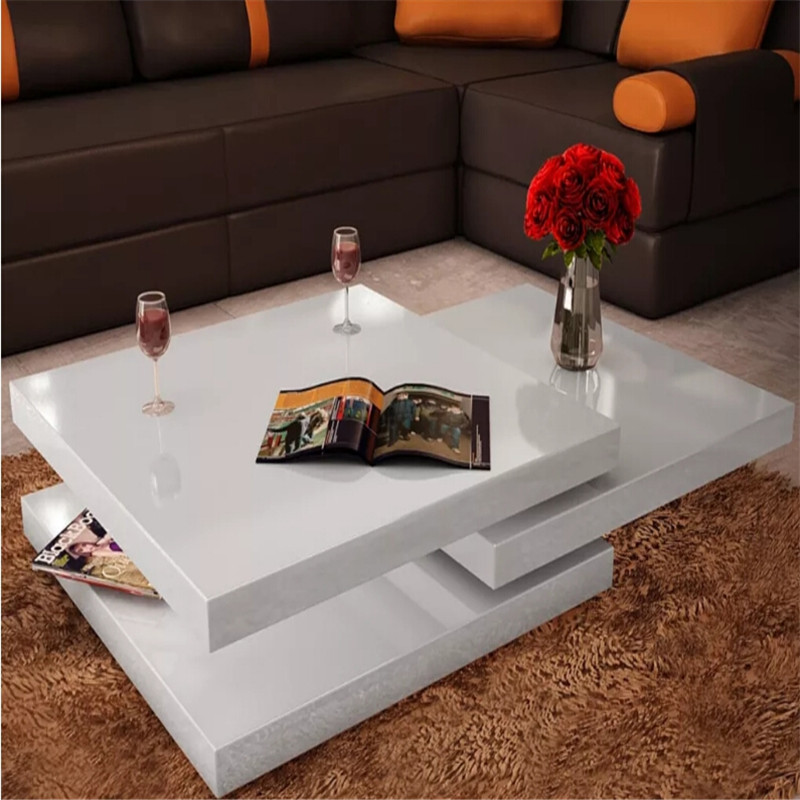 Extendable White Coffee Table 3 Tiers High Gloss Durable Coffee Table Easy To Clean