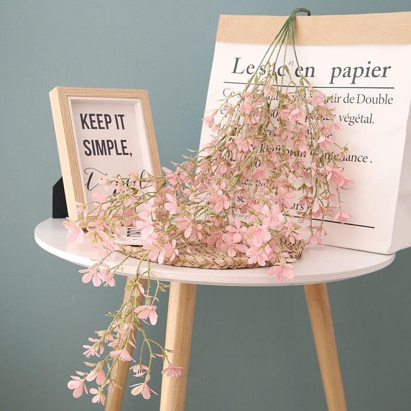 75cm fleurs de cerisier vigne Sakura fleurs artificielles pour fête de mariage décoration de plafond tenture murale en rotin fleur artificielle