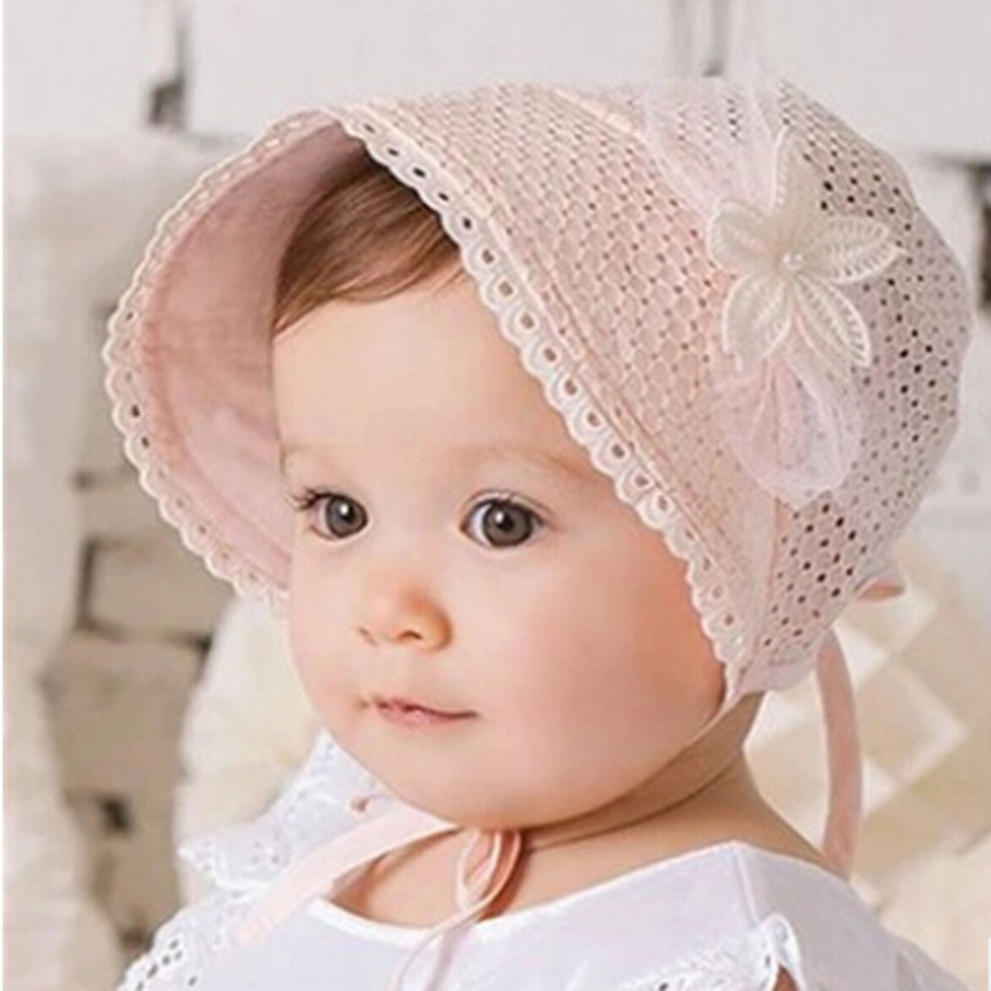 Cute Toddlers Girls Flower Pearl Lace up Hollow up Solid   Skullies     Beanies   Princess Sun Hat Baby Summer Cotton Hat