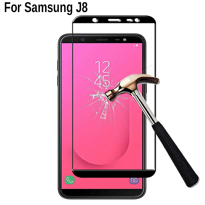 Protective Glass On For Samsung J8 2018 Full Cover Screen Protector Tempered Glass On Sumsung SM J810G J810F 6.0 Inch Glass Film