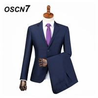 OSCN7 3PCS Plain Blue Tailor Made Suits Men Gentleman Patch pocket Wedding Dress Custom Made Suit Men Fashion Tuxedo DM 014
