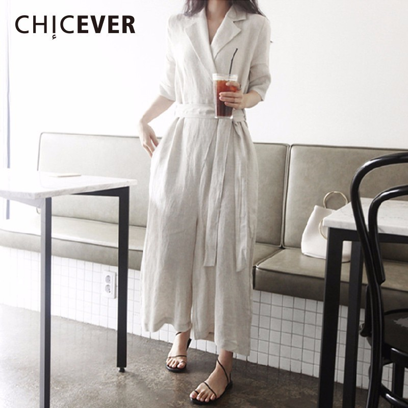 CHICEVER Linen Womens   Jumpsuit   V neck Short Sleeve With Sashes Plus Size Summer Slim   Jumpsuits   For Women 2018 Fashion Tide New