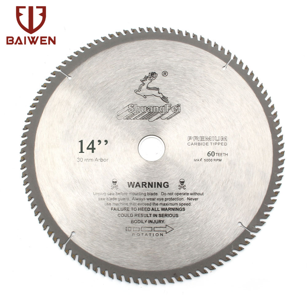 "14"" Premium Carbide Tipped Circular Saw Blade For Wood/Aluminum Cutting 60 80 100 120 Teeth"