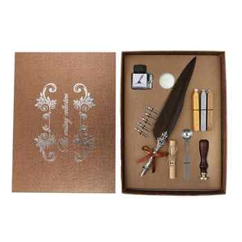 1set Vintage Calligraphy Feather Dip Pen Writing Ink Set Stationery Gift Box with 5 Nib Wedding Gift Quill Pen Fountain Pens New