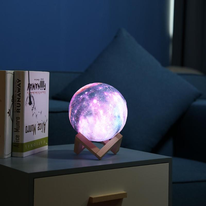 3D Print Starry Sky Star Moon Lamp  Rechargeable Colorful 16 Color Change Touch Switch Night Light With Wooden Holder Dropship