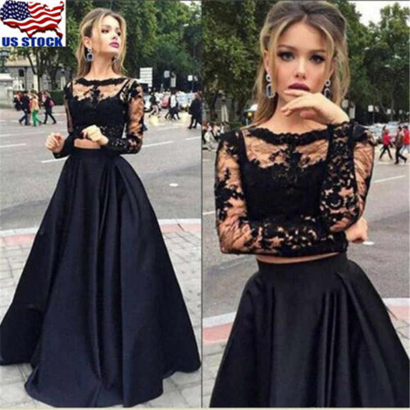 Hot Sexy Women Formal Wedding Bridesmaid Dress Lace Hollow Out T-shirt Crop Tops Skirt 2PCS Party Ball Gown Prom Long Maxi Dress