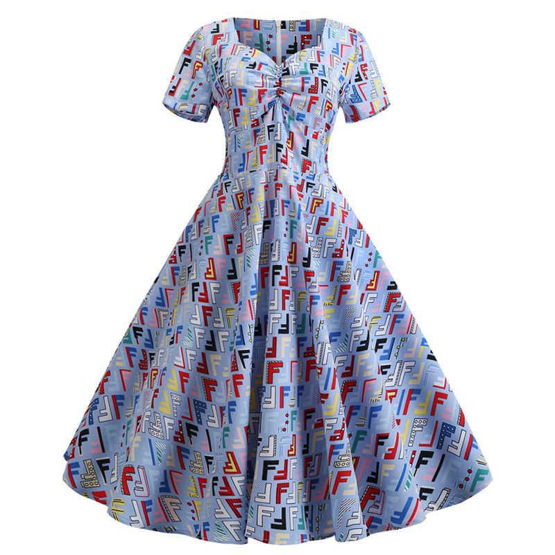 Vestido feminino do vintage 50s retro verão floral impressão vestido de festa manga curta com decote em v elegante festa escritório vestidos midi mais tamanho